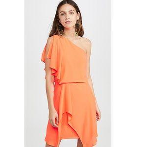 HALSTON HERITAGE: NEON Orange One-Shoulder Dress